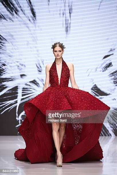 A model walks the runway for Michael Cinco during the Couturissimo Fall/Winter 20162017 show as part of Paris Fashion Week on July 3 2016 in Paris...