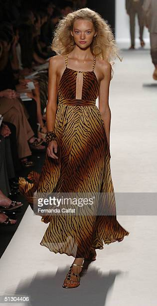 Model walks the runway for Michael Kors show during Olympus Fashion Week Spring 2005 in Bryant Park September 14, 2004 in New York City.