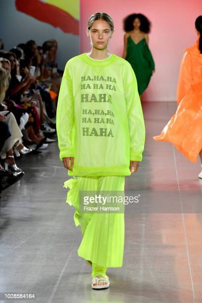 Model walks the runway for Milly by Michelle Smith during New York Fashion Week: The Shows at Gallery II at Spring Studios on September 7, 2018 in...