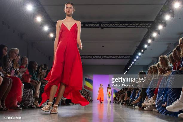 A model walks the runway for Milly by Michelle Smith during New York Fashion Week The Shows at Gallery II at Spring Studios on September 7 2018 in...