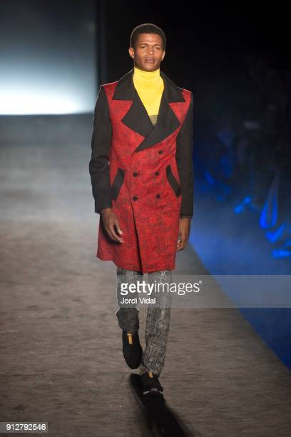 A model walks the runway for Miquel Suay during Barcelona 080 Fashion Week at Hospital Sant Pau on January 31 2018 in Barcelona Spain