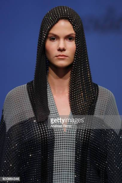A model walks the runway for 'modeclix' at the 3D Fashion Presented By Lexus/Voxelworld show during Platform Fashion July 2017 at Areal Boehler on...