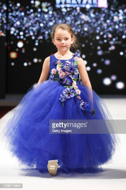 A model walks the runway for Models Wardrobe at the House of iKons show at the Millennium Gloucester Hotel on February 16 2020 in London England