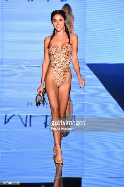 A model walks the runway for Monica Hansen during the Paraiso Fashion Fair at The Paraiso Tent on July 12 2018 in Miami Beach Florida