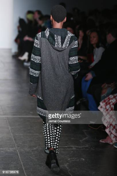 A model walks the runway for Mouton Blanc during the CAAFD Emerging Designer Collective at New York Fashion Week The Shows at at Industria Studios on...