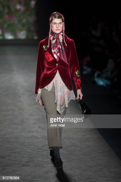 A model walks the runway for Naulover during Barcelona 080 Fashion Week at Hospital Sant Pau on January 31 2018 in Barcelona Spain