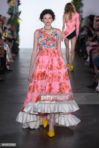 A model walks the runway for Nina Tiari during fashion show at The Gallery at The Dream Downtown Hotel on September 10 2017 in New York City