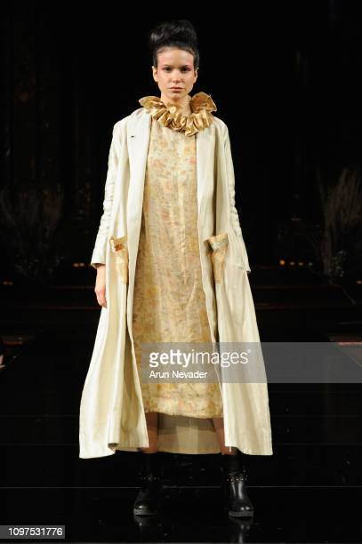 A model walks the runway for Nisha Singh at New York Fashion Week Powered By Art Hearts Fashion NYFW at The Angel Orensanz Foundation on February 10...