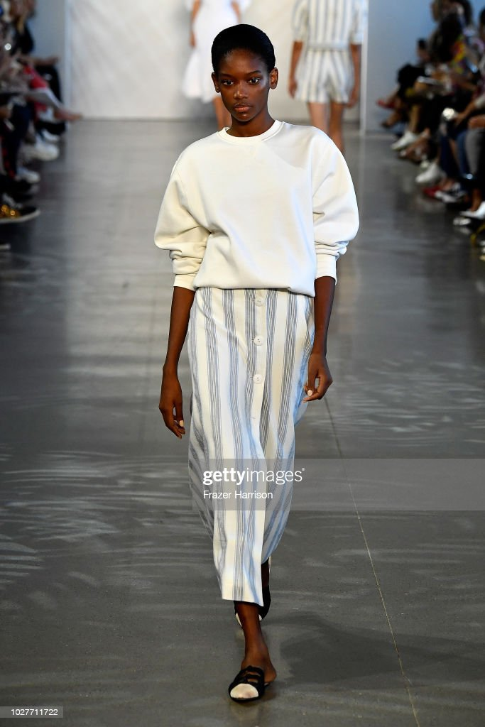 A model walks the runway for Noon by Noor during New York Fashion Week: The Shows at Gallery II at Spring Studios on September 6, 2018 in New York City.
