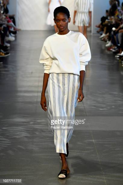 A model walks the runway for Noon by Noor during New York Fashion Week The Shows at Gallery II at Spring Studios on September 6 2018 in New York City