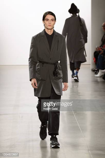 A model walks the runway for OQLIQ during New York Fashion Week The Shows at Gallery II at Spring Studios on February 06 2020 in New York City