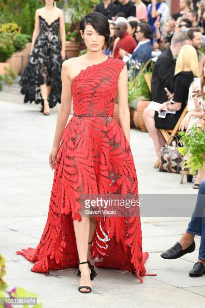 A model walks the runway for Oscar De La Renta during New York Fashion Week The Shows at Spring Studios Terrace on September 11 2018 in New York City