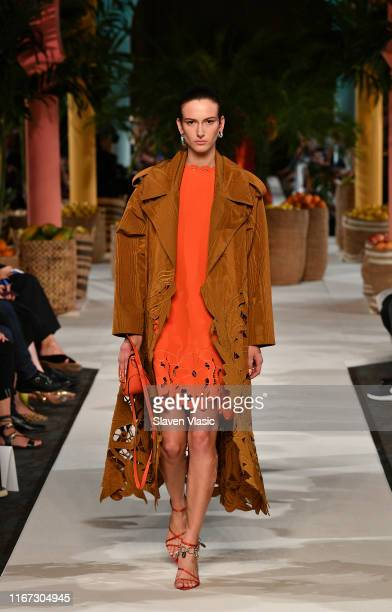 A model walks the runway for Oscar de la Renta during New York Fashion Week The Shows on September 10 2019 in New York City