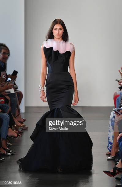 A model walks the runway for Pamella Roland during New York Fashion Week at Spring Studios at Pier 59 on September 6 2018 in New York City