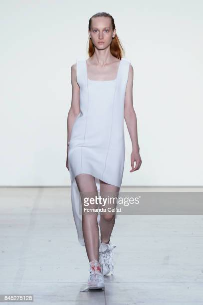 Model walks the runway for Parsons MFA fashion show during New York Fashion Week: The Shows at Gallery 2, Skylight Clarkson Sq on September 10, 2017...