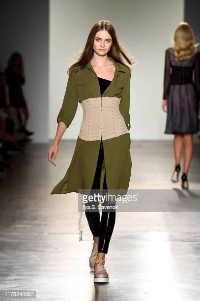 Model walks the runway for Portia & Scarlett for Fashion Palette Australian Womenswear runway during New York Fashion Week at Pier 59 on September...