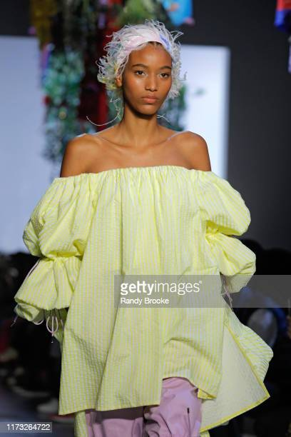 A model walks the runway for Prabal Gurung during New York Fashion Week The Shows at Gallery I at Spring Studios on September 08 2019 in New York City