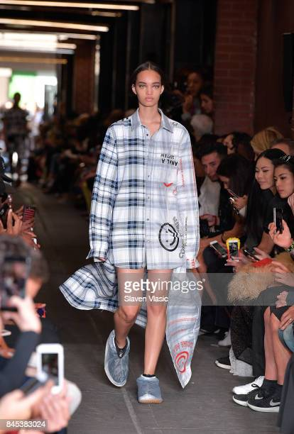 A model walks the runway for Public School fashion show during New York Fashion Week at Canal Arcade on September 10 2017 in New York City