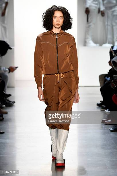 A model walks the runway for Pyer Moss during New York Fashion Week The Shows at Gallery I at Spring Studios on February 10 2018 in New York City