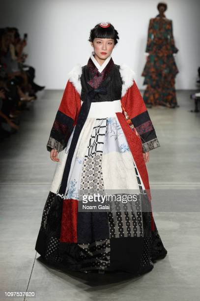 A model walks the runway for Queenie Zoe by Bomin Kim at the Global Fashion Collective II fashion show during New York Fashion Week The Shows at Pier...