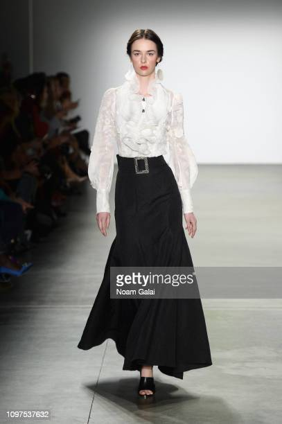 Model walks the runway for Queenie Zoe by Bomin Kim at the Global Fashion Collective II fashion show during New York Fashion Week: The Shows at Pier...