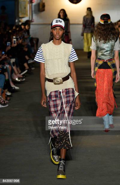 A model walks the runway for R13 fashion show during New York Fashion Week at Pier 40 on September 6 2017 in New York City