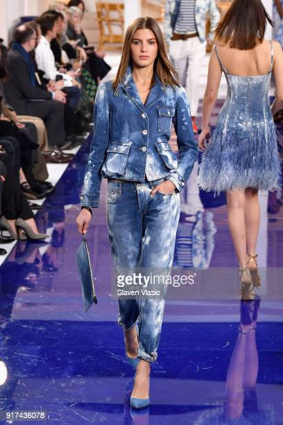 Model walks the runway for Ralph Lauren during New York Fashion Week: The Shows at on February 12, 2018 in New York City.
