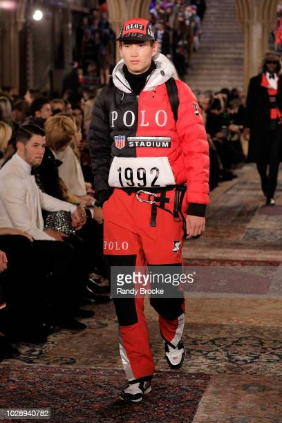 A model walks the runway for Ralph Lauren fashion show during New York Fashion Week at Bethesda Terrace on September 7 2018 in New York City
