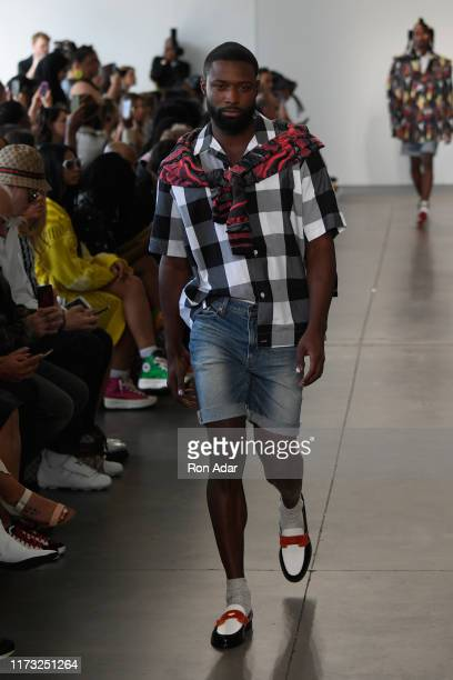 A model walks the runway for Romeo Hunte during New York Fashion Week The Shows at Peir 59 on September 08 2019 in New York City