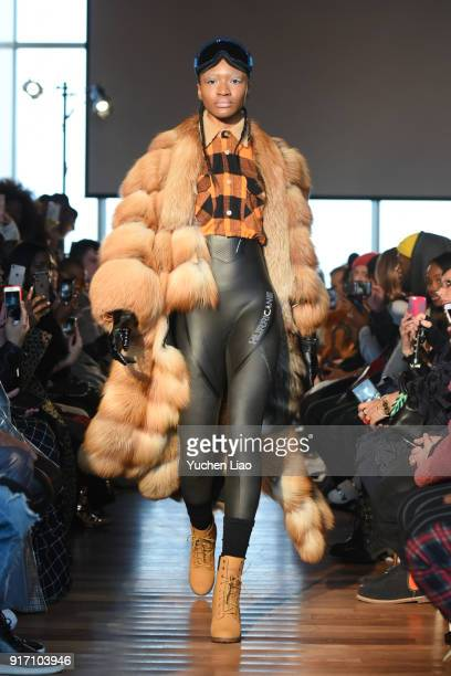 A model walks the runway for Romeo Hunte fashion show on February 2018 New York Fashion Weekon February 11 2018 in New York City