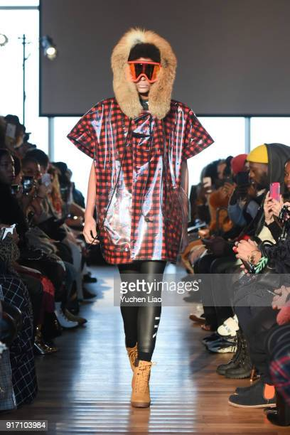 A model walks the runway for Romeo Hunte fashion show on February 2018 New York Fashion Weekon February 11 2018 in New York City