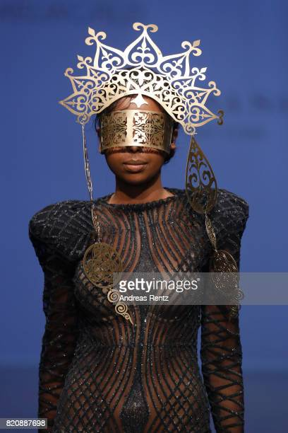 A model walks the runway for 'Sabina Saga' at the 3D Fashion Presented By Lexus/Voxelworld show during Platform Fashion July 2017 at Areal Boehler on...