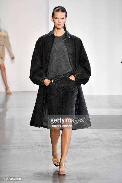A model walks the runway for Sally LaPointe during New York Fashion Week The Shows at Gallery I at Spring Studios on September 11 2018 in New York...