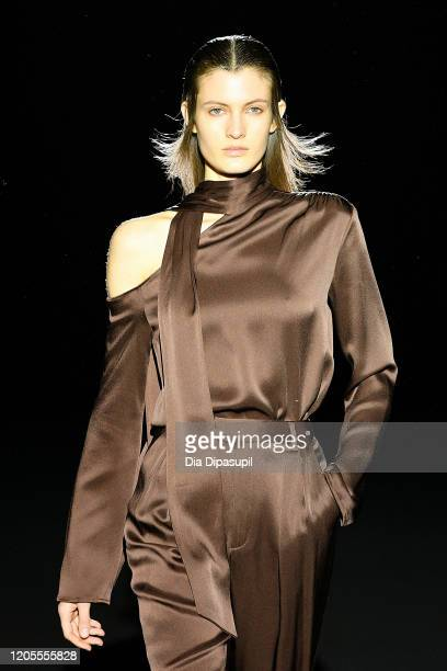 Model walks the runway for Sally LaPointe during New York Fashion Week: The Shows at Gallery I at Spring Studios on February 11, 2020 in New York...