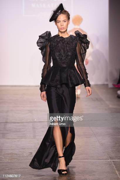 Model walks the runway for Sania Maskatiya at the The CAAFD Emerging Designer Showcase Fashion Show during New York Fashion Week: The Shows at...