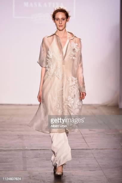 A model walks the runway for Sania Maskatiya at the The CAAFD Emerging Designer Showcase Fashion Show during New York Fashion Week The Shows at...