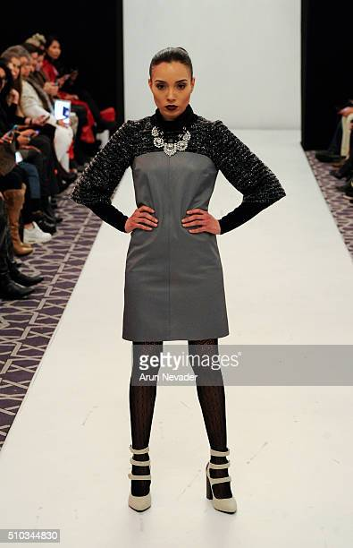 A model walks the runway for Saul Latvanen during the PretAPorter fashion show at Affinia Hotel on February 14 2016 in New York City