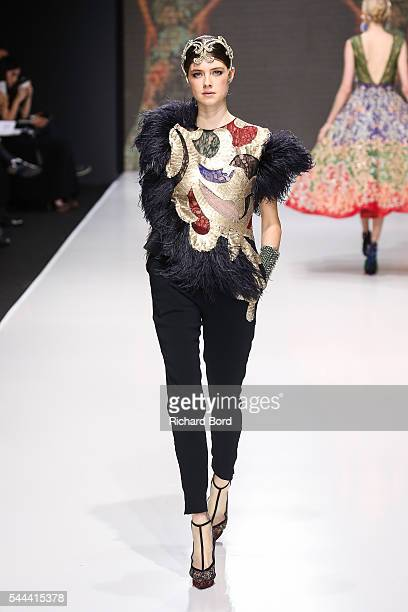 A model walks the runway for Sebastian Gunawan during the Couturissimo Fall/Winter 20162017 show as part of Paris Fashion Week on July 3 2016 in...