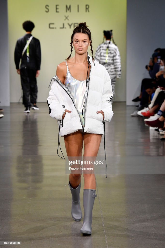 A model walks the runway for Semir X CJ Yao fashion show during September 2018 - New York Fashion Week: The Shows at Gallery II at Spring Studios on September 12, 2018 in New York City.