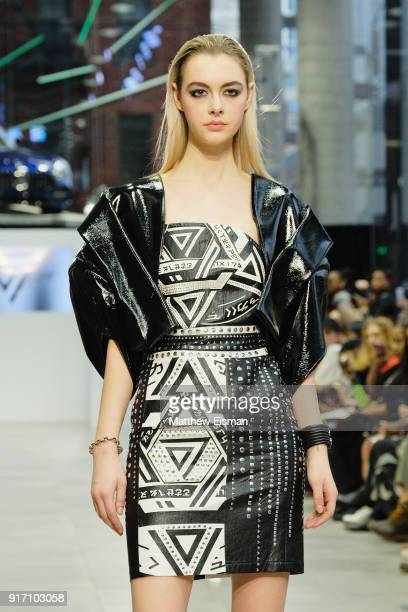 A model walks the runway for Seven Crash at the Nolcha Shows during New York Fashion Week Fall/Winter 2018 at MercedesBenz Manhattan on February 11...
