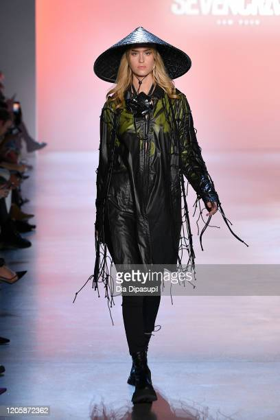 Model walks the runway for Seven Crash during New York Fashion Week: The Shows at Gallery I at Spring Studios on February 12, 2020 in New York City.
