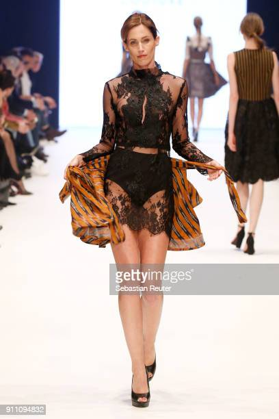 Model walks the runway for Shanty show at the Fashionyard show during Platform Fashion January 2018 at Areal Boehler on January 27 2018 in...