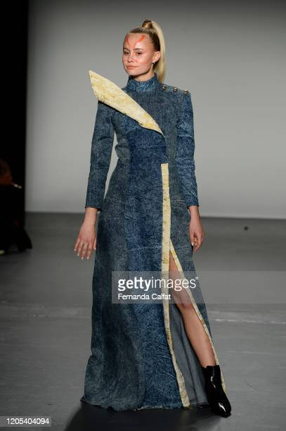 A model walks the runway for Shun Oyama Tokyo at Global Fashion Collective II during New York Fashion Week The Shows at Pier 59 Studios on February...