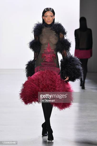 Model walks the runway for Sukeina during New York Fashion Week: The Shows at Gallery I at Spring Studios on February 12, 2020 in New York City.