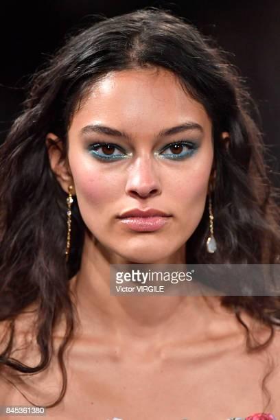 A model walks the runway for Tadashi Shoji Ready to Wear Spring/Summer fashion fashion show during New York Fashion Week on September 7 2017 in New...