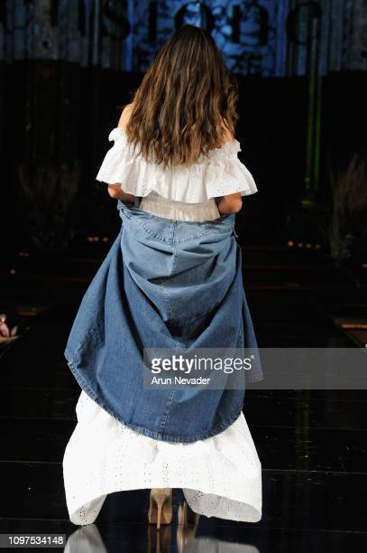 A model walks the runway for TENSIONE IN At New York Fashion Week Powered By Art Hearts Fashion NYFW at The Angel Orensanz Foundation on February 10...
