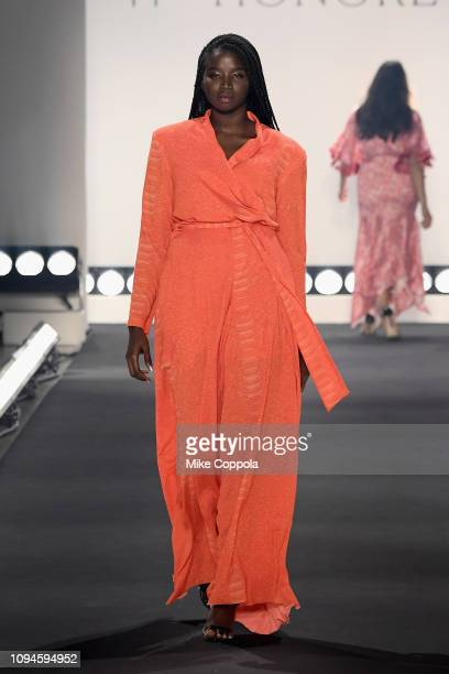 A model walks the runway for the 11 Honore fashion show during New York Fashion Week The Shows at Gallery I at Spring Studios on February 6 2019 in...