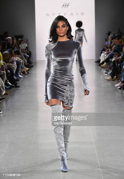 A model walks the runway for the Afffair fashion show during New York Fashion Week The Shows at Gallery II at Spring Studios on February 13 2019 in...