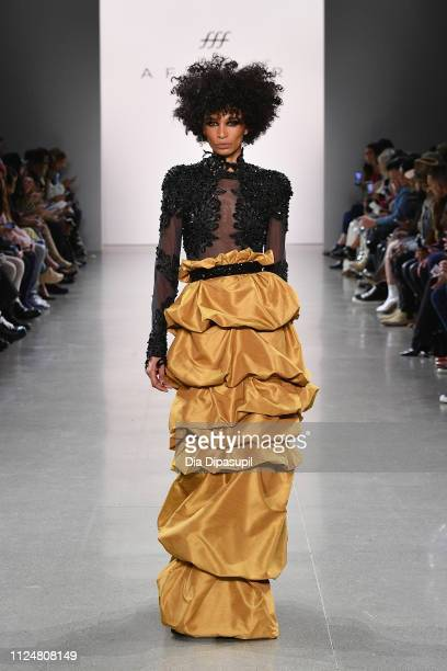 Model walks the runway for the Afffair fashion show during New York Fashion Week: The Shows at Gallery II at Spring Studios on February 13, 2019 in...