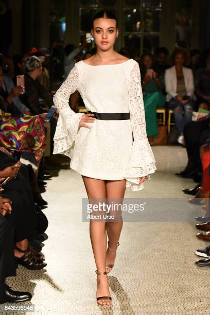 A model walks the runway for the Aisha McShaw fashion show during New York Fashion Week at Prince George Ballroom on September 6 2017 in New York City